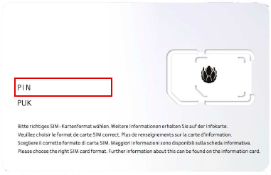 PIN and PUK code for the SIM card | UPC
